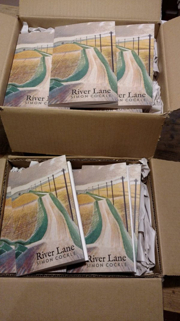 Boxes of books, just arrived in stock: River Lane by Simon Cockle